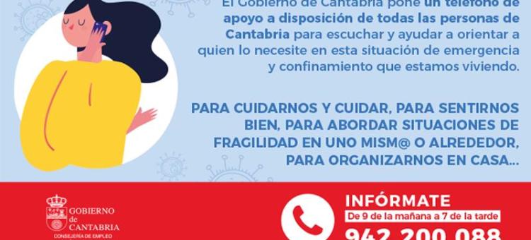 Teléfono Apoyo Emergencia COVID- 19 Consejería Empleo y Políticas Sociales